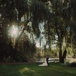 Bridal photo in front of pond