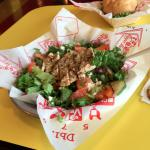 Teddy's Bigger Burger also serves Greek Salad with Garlic Chicken Topping