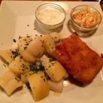 Deep fried cheese w potatoes, mayo and coleslaw