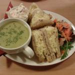 The pea soup and sandwich was very generous