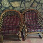 Old cane chairs with dirty cushions