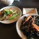 Grilled vegetables, wakame salad