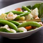Prawns and Scallops with Snow Peas