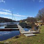 View of lake and boat dock.