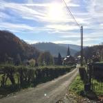 De straat van Aux Quatre Bonniers richting het dorpje
