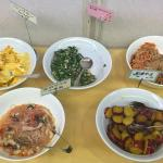 Some of the vegetable dishes at breakfast