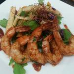 Lime glazed shrimp and papaya slaw