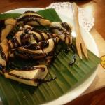 Fried-Banana,scattered with chocolate