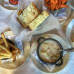 fries, sweet potato fries, clam chowder and delicious bread