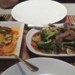Red Thai curry chicken and beef dish