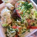 Gryo plate (to go) with tuna salad and Lebanese salad as the two sides.