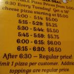 Pizza specials every evening.