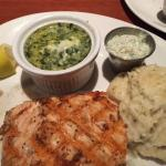 tasty grilled salmon, yummy garlic mashed potatoes & really cheesy creamed spinach
