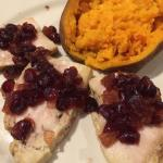 Turkey with apple/cranberry chutney with sweet potato.  One of the November specials.