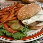 Mushroom & Swiss Burger with Sweet Potato Fries