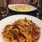 Penne Arrabiata, Penne pasta tossed with mixed Italian sausage, mushrooms and chilli