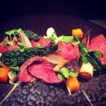 Rump of beef with roast vegetables, foie gras and roasting jus