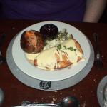 My wife's Chicken Kiev, broccoli, and baked potato