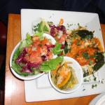 Chili Rellenos (2) with side salad and vegetables