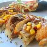 pato tempurizado con salsa de mango
