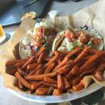 Halibut Tacos w Sweet Potato Fries