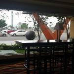 View of parking lot from breakfast dining area.
