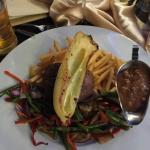 Steak & Grilled vegetables with mushroom sauce