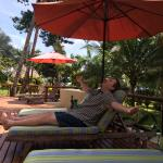 Hubby living the good life at the pool