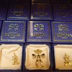 Gold jewelry based on pre-Colombian designs in gift shop.