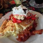Amazing Egg & Cheese Souflee and a strawberry banana pancake stack.