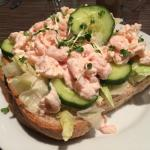 Prawn open sandwich