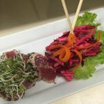 Ahi Tuna with a beet and jicama salad