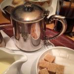 Silver teapots, loose leaf tea, big bowls of sugar & plentiful milk ensure a perfect cuppa!