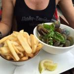 Fantastic fresh mussels served with big bowl of chips
