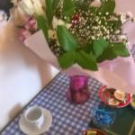 flowers at breakfast table