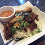 Pork and spring rolls vermicelli bowl