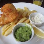"""Lighter bite"" cod, chips, mushy peas"