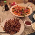 Pud Tia & Shrimp Dish - both Excellent