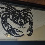 Interior decor, metal crab, THree Fishermen Seafood, North Fort Myers, Florida