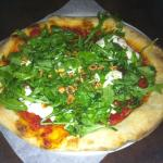 Burrata with rocket and caramelised onion pizza - unusual but delicious.