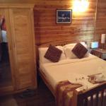 Cozy log cabins.