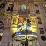 The theatre by night, showing the poster for the 39 steps