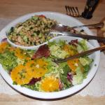Chickpea salad and mixed green salad with fresh orange