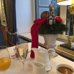 Champagne offered and gladly accepted.  I had eggs benedict (no extra cost); they were delicious