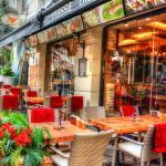 Outside the restaurant