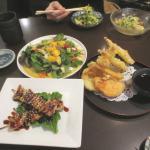 Chicken Yakitori, Smoked Salmon Pear Salad, and Assorted Tempura