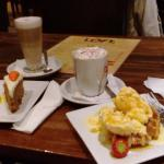 Carrot Cake & Waffle with Hot Chocolate and Latte