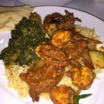 Rice, Sag Aloo and Chicken Jalfrazi