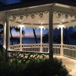 Evening view of poolside gazebo