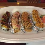 Caterpillar Roll, Yum Yum Roll, Crazy Boy, & Spicy Scallop Roll all so delicious!